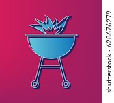 barbecue with fire sign. vector.... | Shutterstock .eps vector #628676279