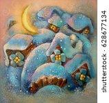 winter. snowy rural winter.... | Shutterstock . vector #628677134