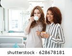 pretty young woman looking... | Shutterstock . vector #628678181