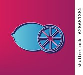 fruits lemon sign. vector. blue ... | Shutterstock .eps vector #628681385