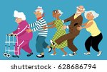 diverse group of active senior... | Shutterstock .eps vector #628686794