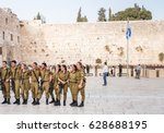 Small photo of April 21, 2017- Western wall Old city Jerusalem Israel. Soldiers of Israel defense force at the Western Wall.