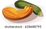 two pumpkins on white... | Shutterstock .eps vector #628688795