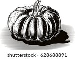 ripe pumpkin on a white... | Shutterstock .eps vector #628688891