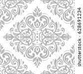 damask classic silver pattern.... | Shutterstock . vector #628691234