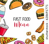 fast food menu. template with... | Shutterstock .eps vector #628691771