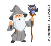 wizard wearing a hat and a long ... | Shutterstock .eps vector #628692875