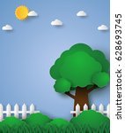 tree in green field with fence  ... | Shutterstock .eps vector #628693745