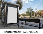 blank advertisement in a bus... | Shutterstock . vector #628703021