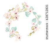 watercolor wreath with orchid... | Shutterstock . vector #628712831