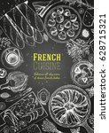 french cuisine top view ... | Shutterstock .eps vector #628715321