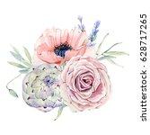 watercolor vintage floral... | Shutterstock . vector #628717265