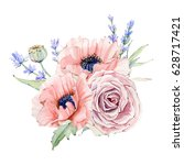 watercolor vintage floral... | Shutterstock . vector #628717421