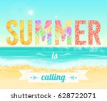 colorful summer is calling... | Shutterstock .eps vector #628722071