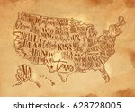 vintage usa map with states... | Shutterstock .eps vector #628728005