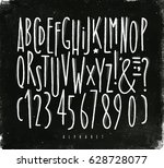 alphabet set straight lines... | Shutterstock .eps vector #628728077
