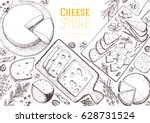 cheese top view frame. vector... | Shutterstock .eps vector #628731524
