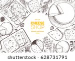 cheese top view frame. vector... | Shutterstock .eps vector #628731791