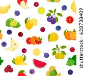 seamless background with fruits ... | Shutterstock .eps vector #628738409
