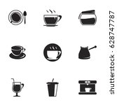 icons for theme black coffee.... | Shutterstock .eps vector #628747787