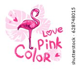 pink flamingo  print on t shirt  | Shutterstock .eps vector #628748015
