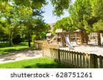 children's wooden playground... | Shutterstock . vector #628751261