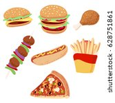 a set of icons with food. fast... | Shutterstock .eps vector #628751861