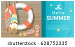 hello summer background with... | Shutterstock .eps vector #628752335