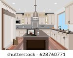 kitchen interior background... | Shutterstock .eps vector #628760771