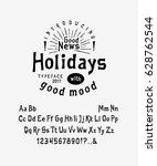 font holidays.  craft retro... | Shutterstock .eps vector #628762544