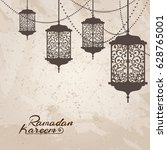 arabic traditional lantern and... | Shutterstock .eps vector #628765001
