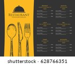 restaurant menu design. vector... | Shutterstock .eps vector #628766351