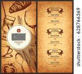 restaurant menu design. vector... | Shutterstock .eps vector #628766369