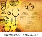 restaurant menu design. vector... | Shutterstock .eps vector #628766387