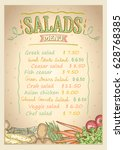 salads menu list vector design... | Shutterstock .eps vector #628768385