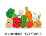 cute  funny and happy... | Shutterstock .eps vector #628773644