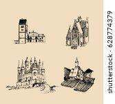 vector medieval landscapes... | Shutterstock .eps vector #628774379