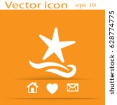 flat icon. starfish and sea.... | Shutterstock .eps vector #628774775