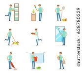 smiling househusbands washing ... | Shutterstock .eps vector #628780229