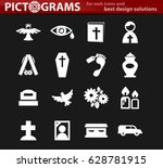 funeral service vector icons... | Shutterstock .eps vector #628781915