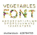 vegetarian font. alphabet of... | Shutterstock .eps vector #628784705