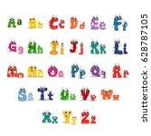 cartoon alphabet characters.... | Shutterstock .eps vector #628787105