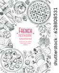 french cuisine top view ... | Shutterstock .eps vector #628808531