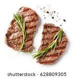 grilled beef steak isolated on... | Shutterstock . vector #628809305