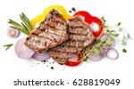 grilled beef steak and... | Shutterstock . vector #628819049