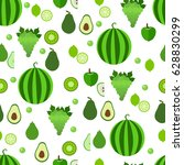seamless pattern with green... | Shutterstock .eps vector #628830299