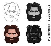 caveman face icon in cartoon... | Shutterstock .eps vector #628830671