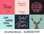 set of romantic hand drawn... | Shutterstock . vector #628830749