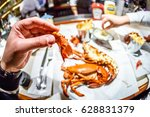 lobster served in english pub   Shutterstock . vector #628831379