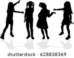 vector silhouette of children... | Shutterstock .eps vector #628838369